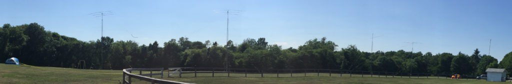 From left to right - CW tent, tower and moxon.  GOTA tower and fan dipole, Phone tower and moxon.  6 meter moxon.