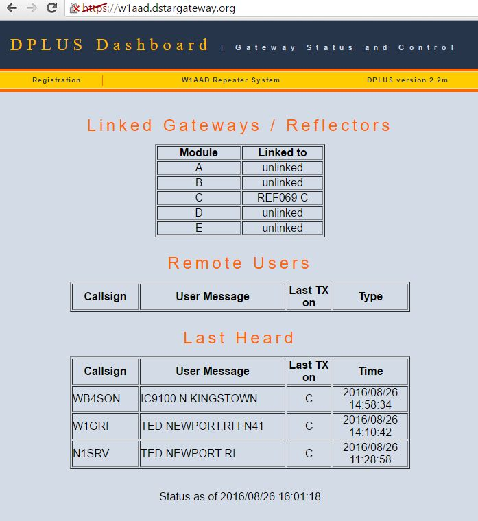 Happy DPLUS Status Screen showing connection to REF069C and some recent users